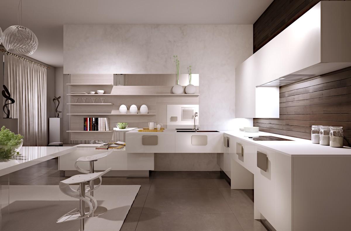 Бело-кремовая кухня в стиле минимализм