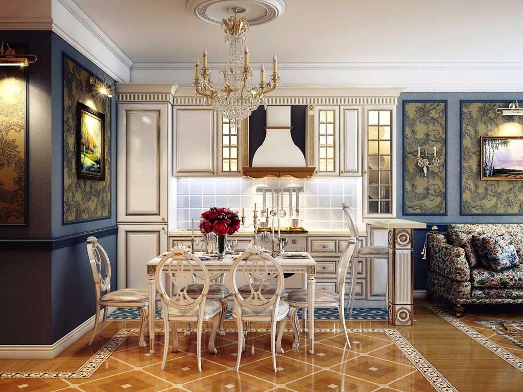 Роскошная совмещенная кухня-гостиная в классическом стиле прованс
