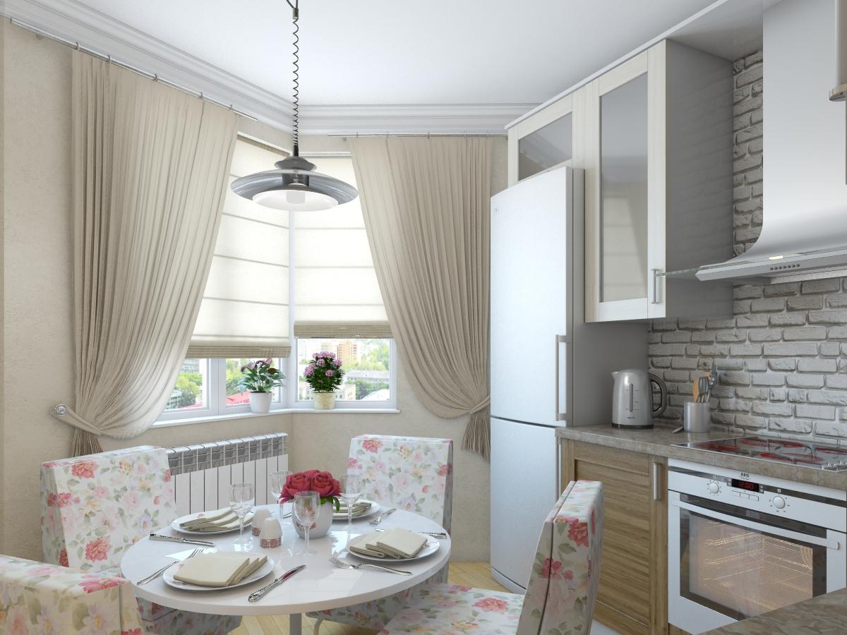 Бело-бежевая кухня с красивым декором в стиле прованс