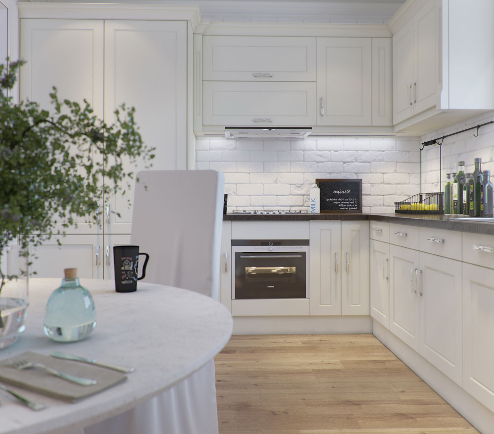 Белая кухня с бежевым полом в стиле прованс