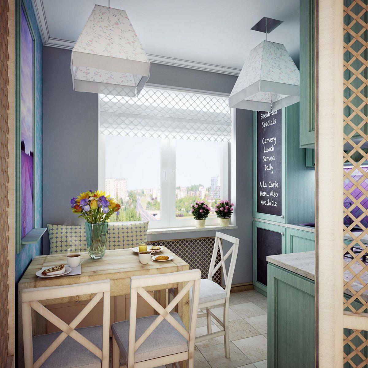 Современная маленькая кухня в стиле прованс