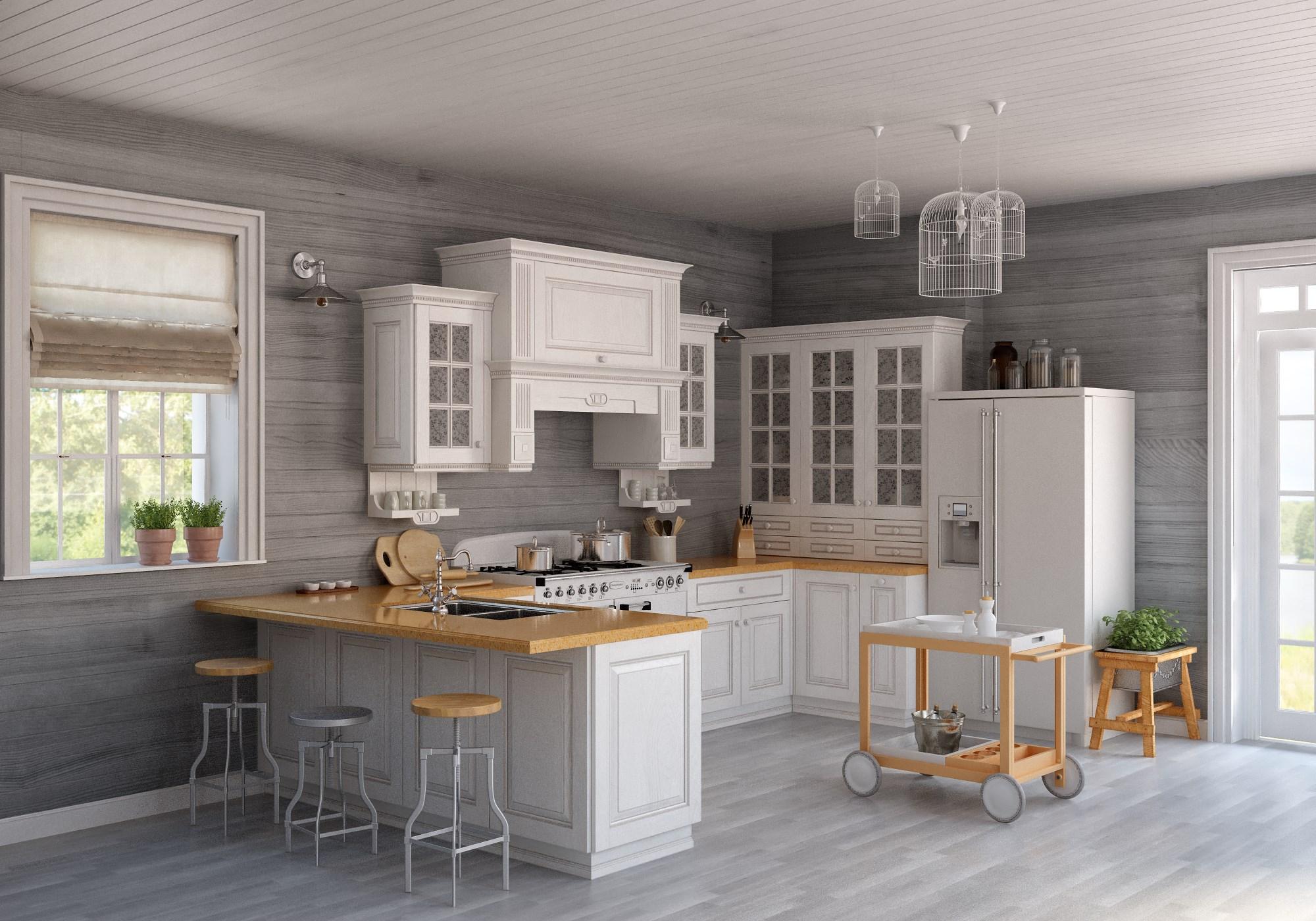 Белый, серый и коричневый цвета в интерьере современной кухни в стиле прованс