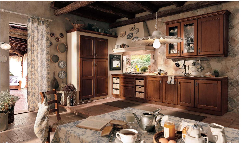 Декоративная штукатурка и камень в интерьере кухни в стиле прованс