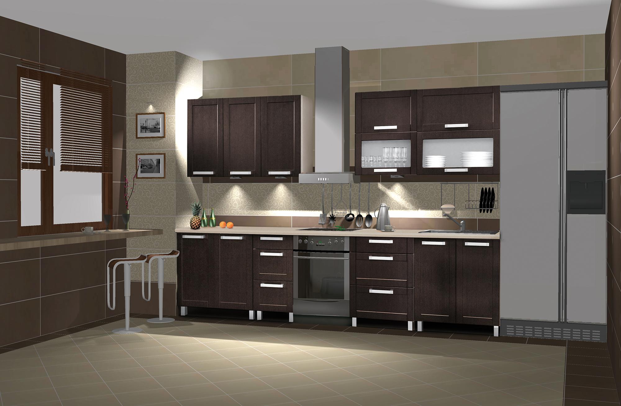 Темно-коричневая кухня