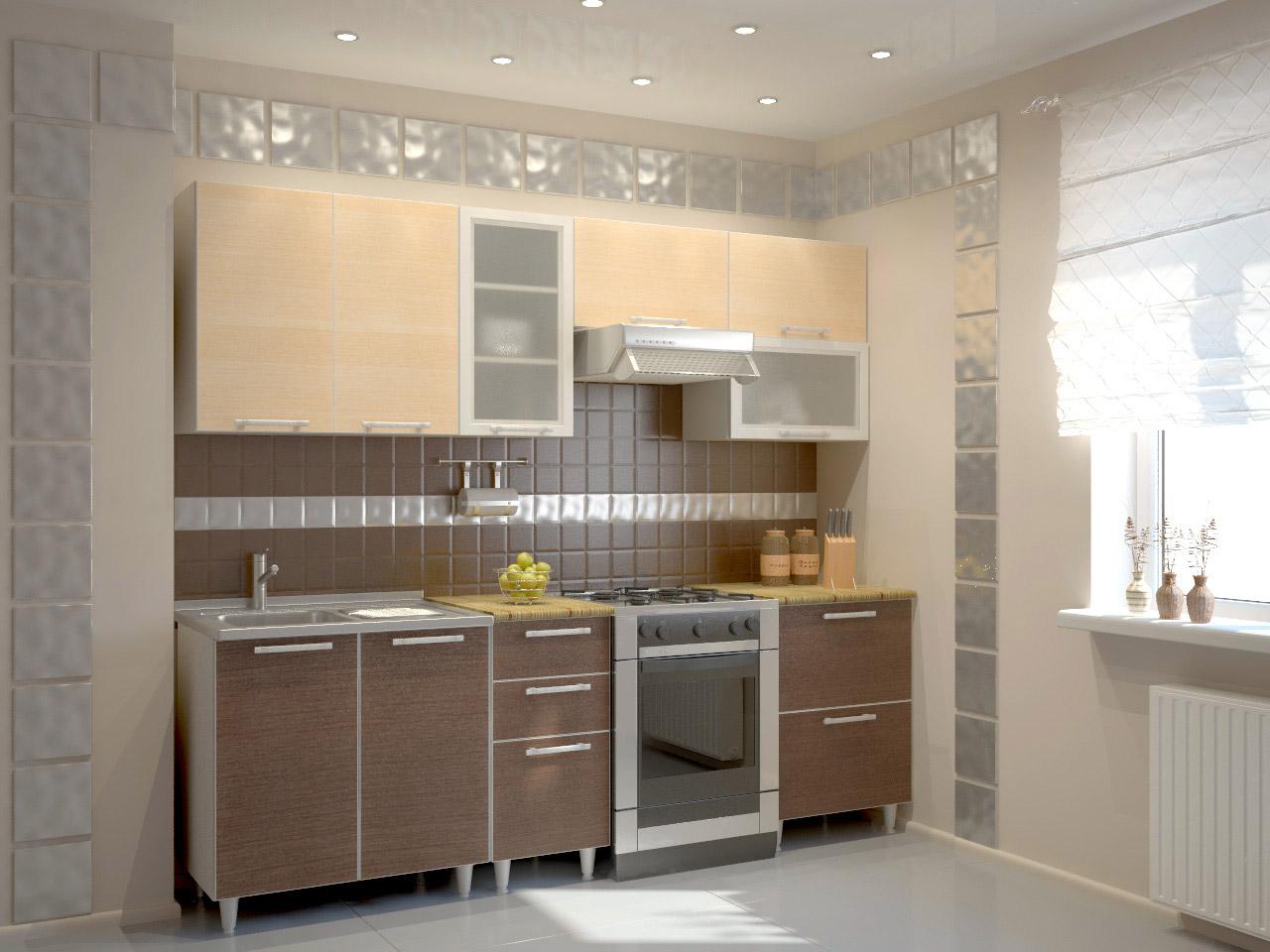 Светло-коричневый и бежевый цвета в кухне под венге