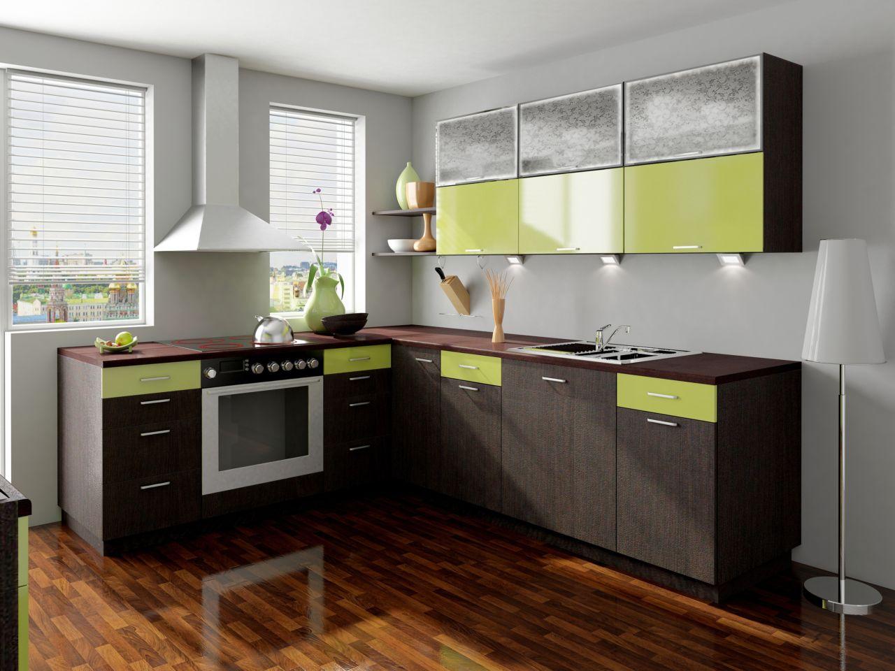 Салатовый и цвет венге в дизайне кухни