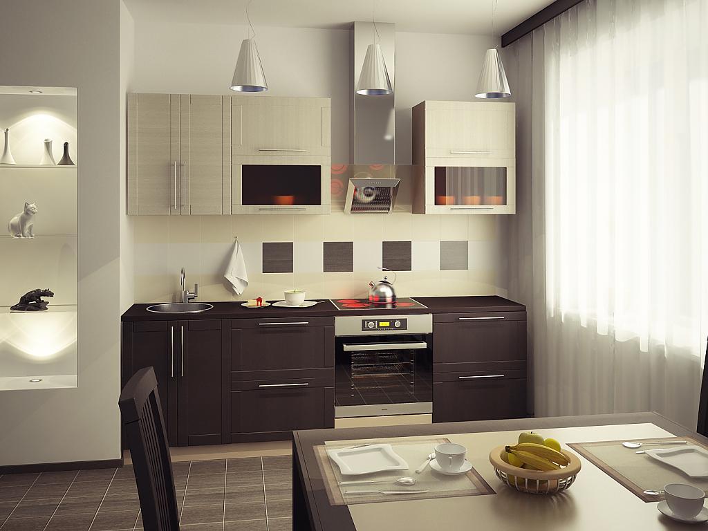 Цвет темного венге и бежевый в дизайне кухни