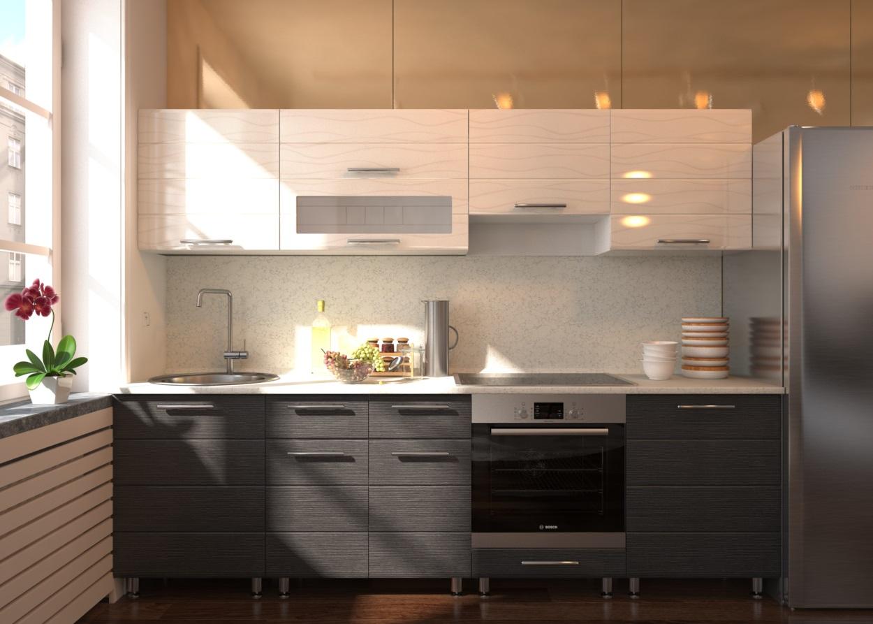 Черно-белая кухня с имитацией венге