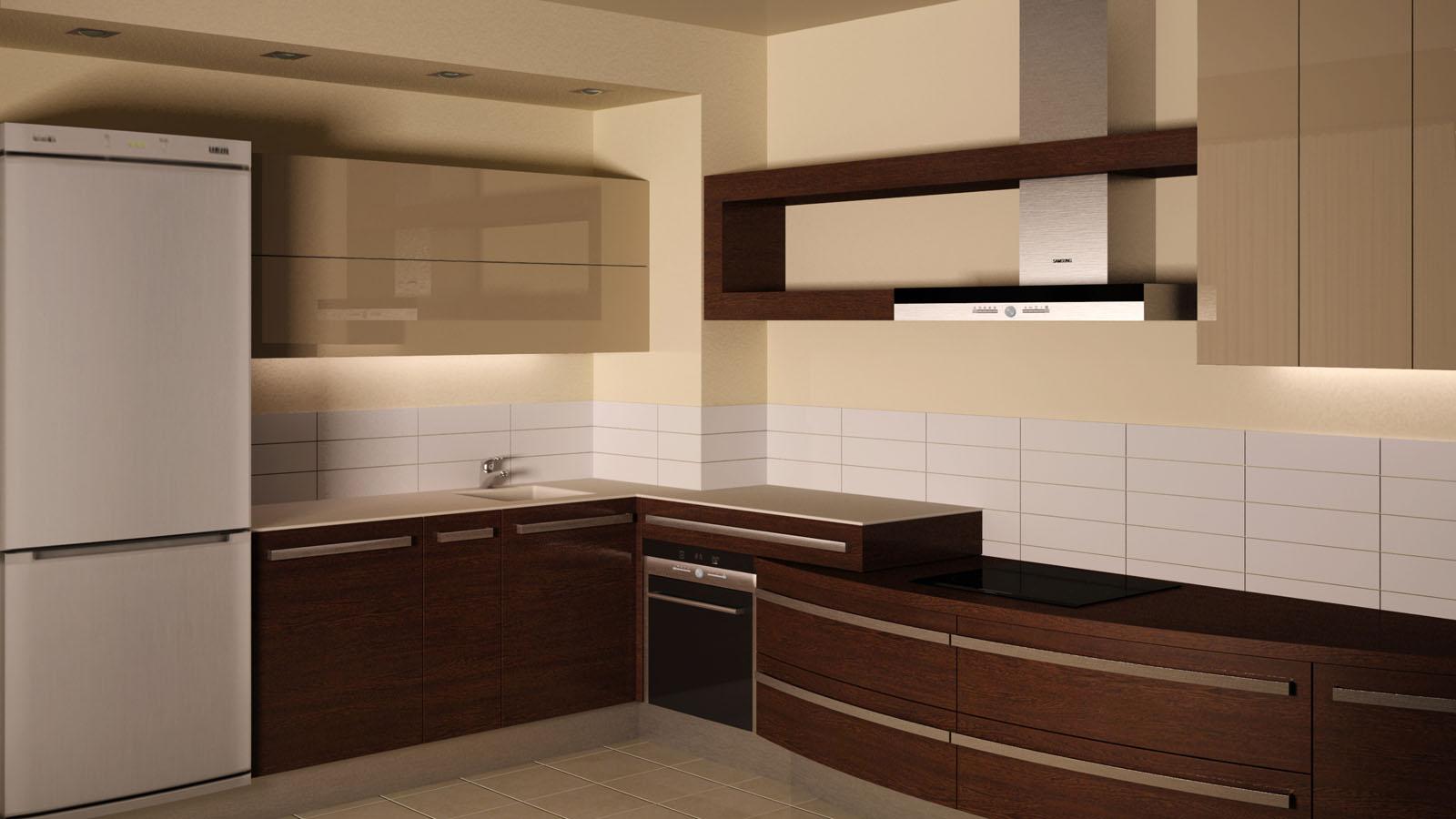 Угловая коричнево-бежевая кухня