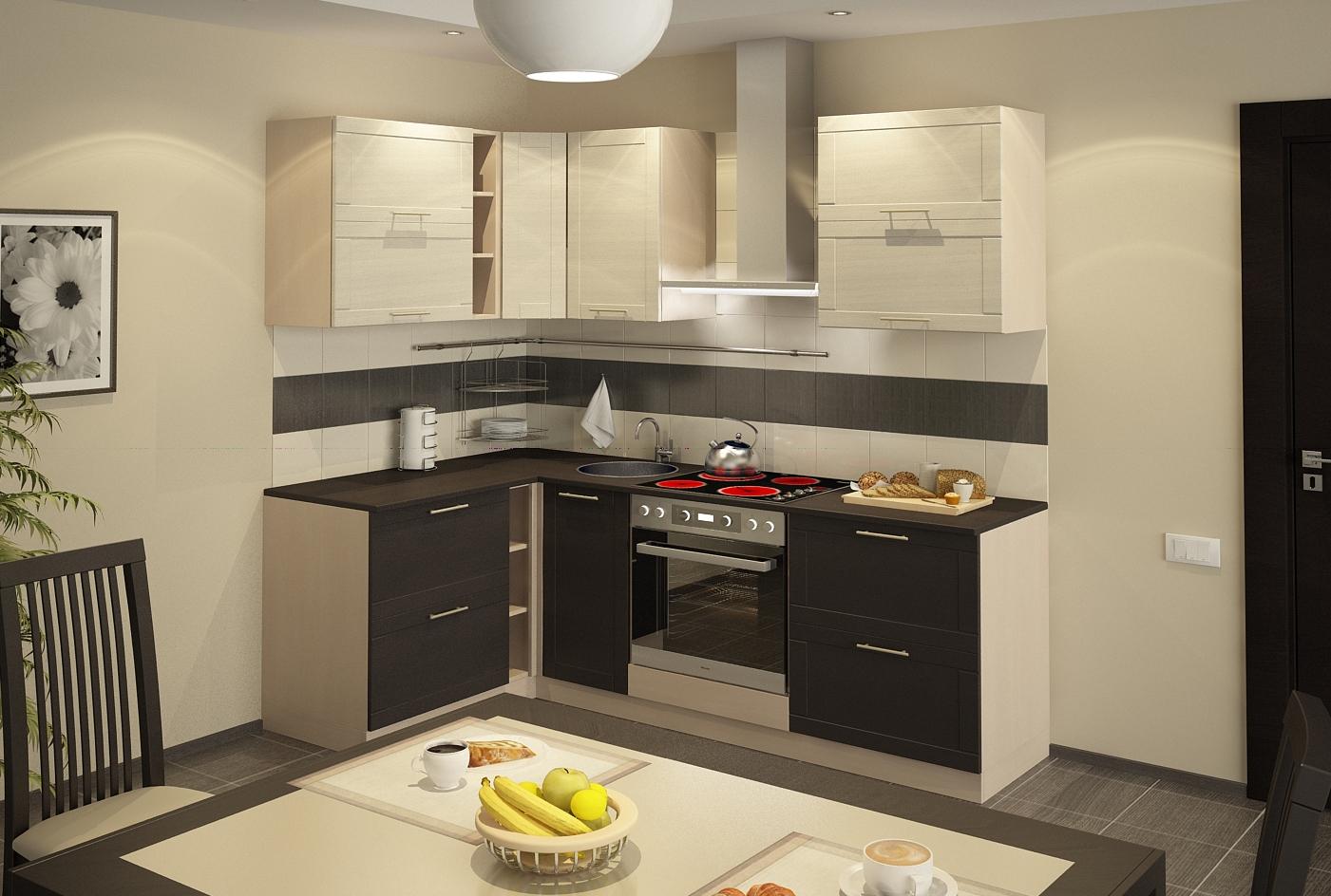 Маленькая угловая кухня с сочетанием цвета венге с бежевым