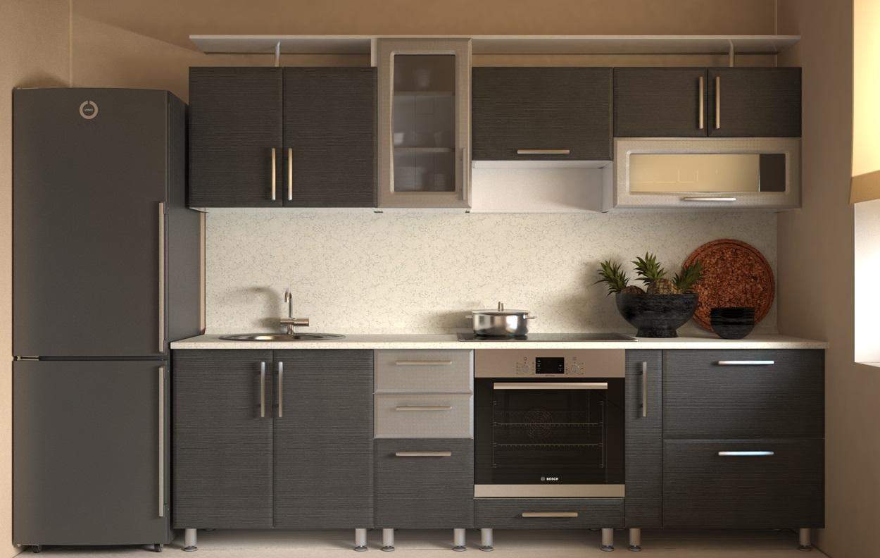 Маленькая темно-серая кухня венге