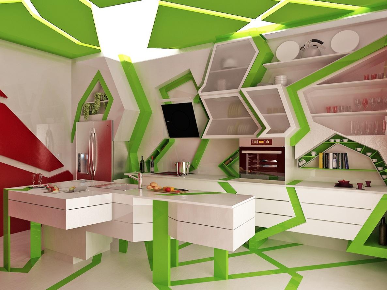 Бело-зеленая современная кухня