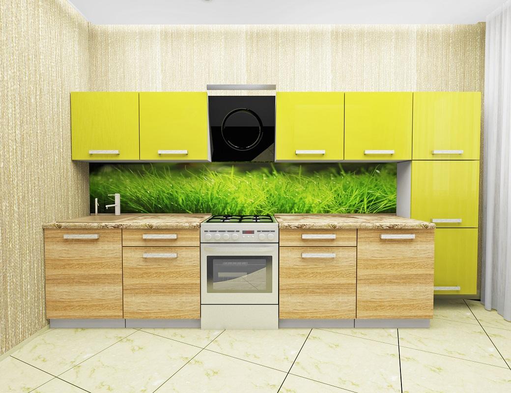 Проект желто-зеленой кухни