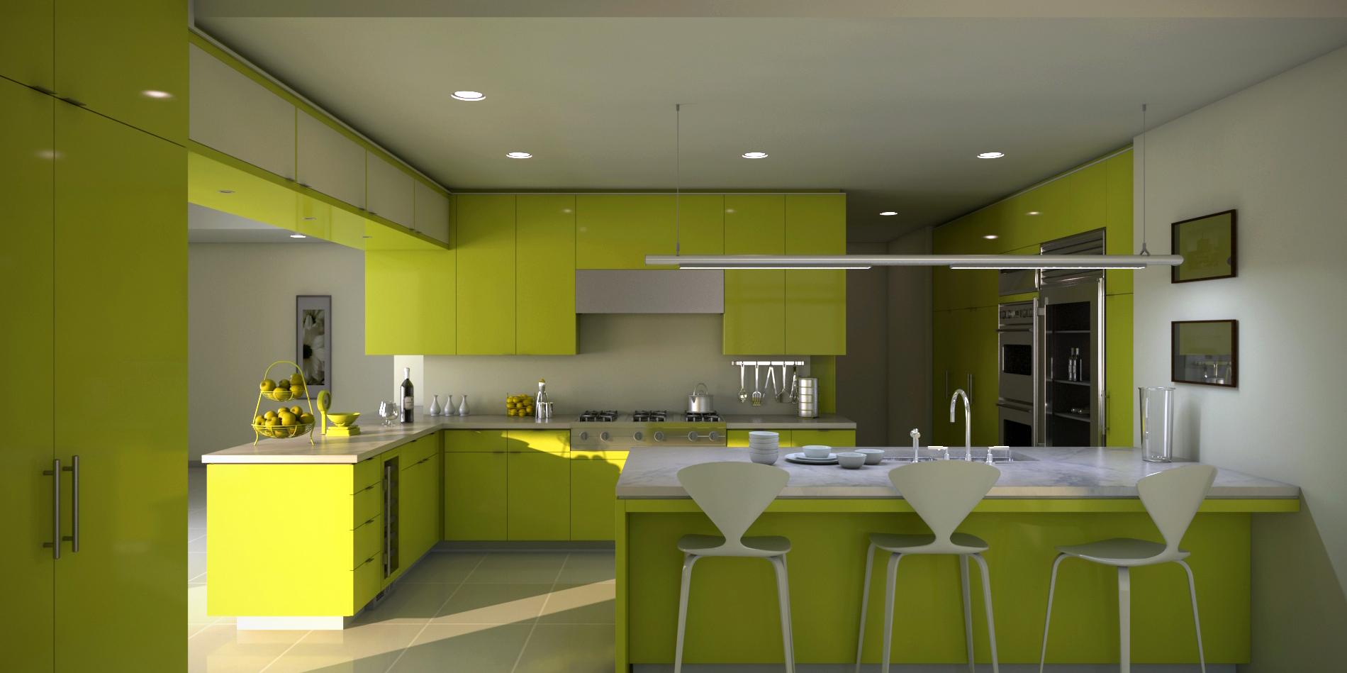 Просторная зеленая кухня с островом
