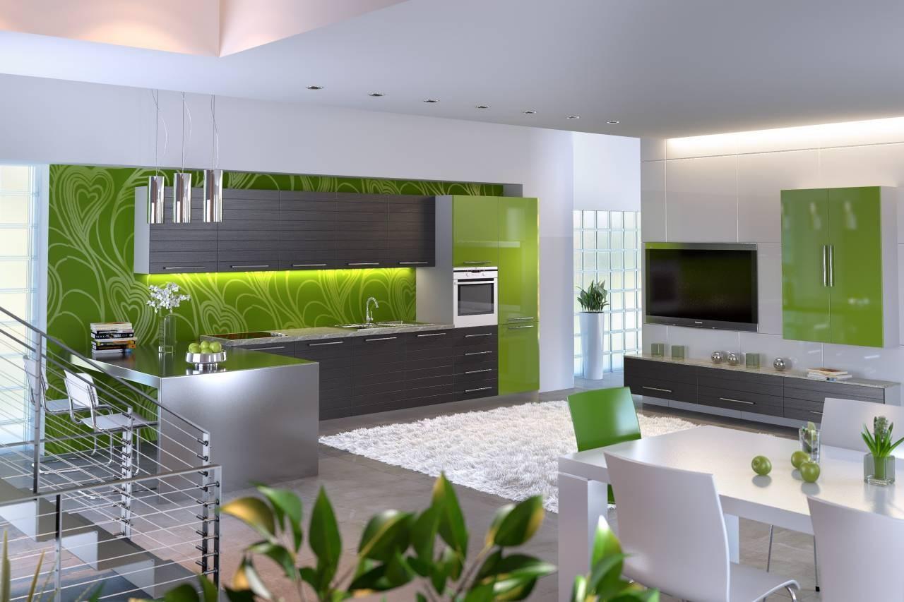 Большая бело-зеленая кухня