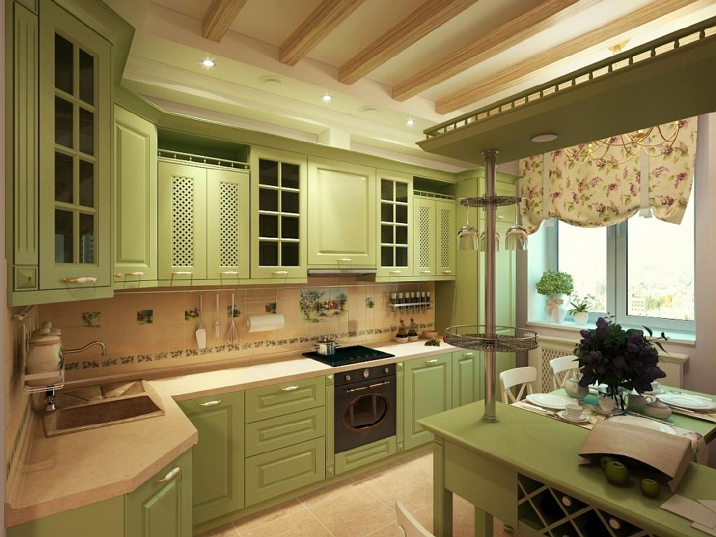 Красивая бежево-зеленая кухня