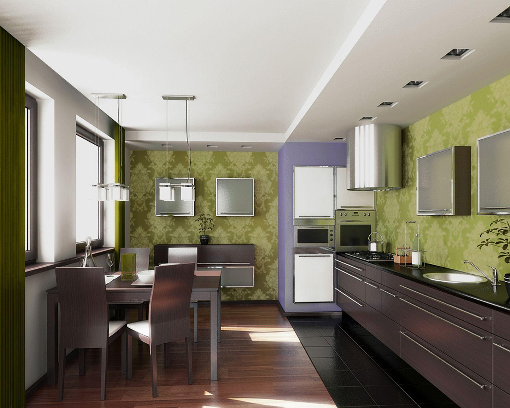 Венге, зеленый и белый цвета в интерьере кухни