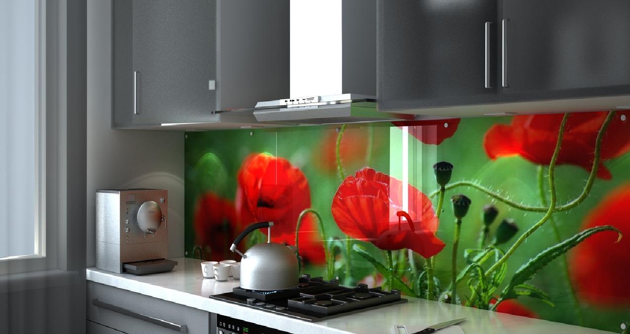 Красно-зеленый фартук на кухне