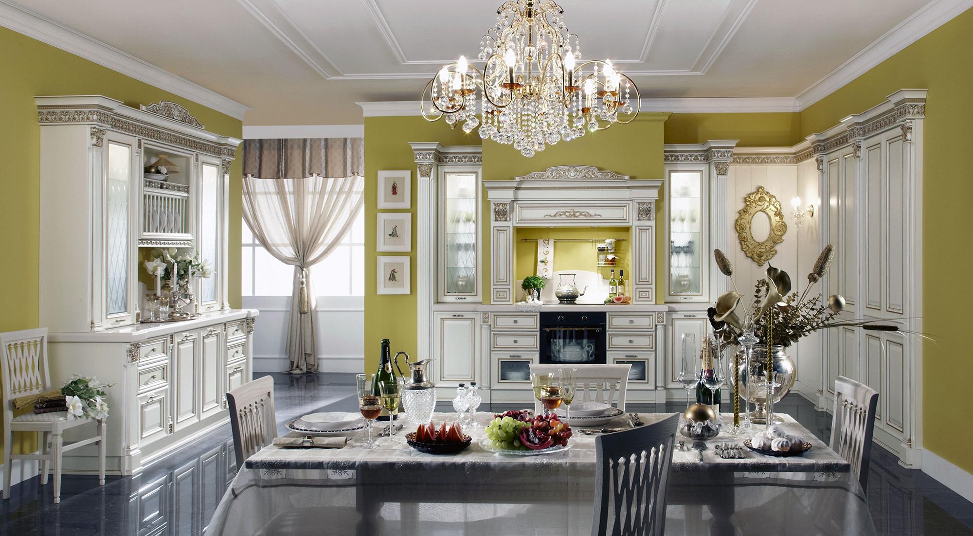 Люстра на бело-салатовой кухне в классическом стиле