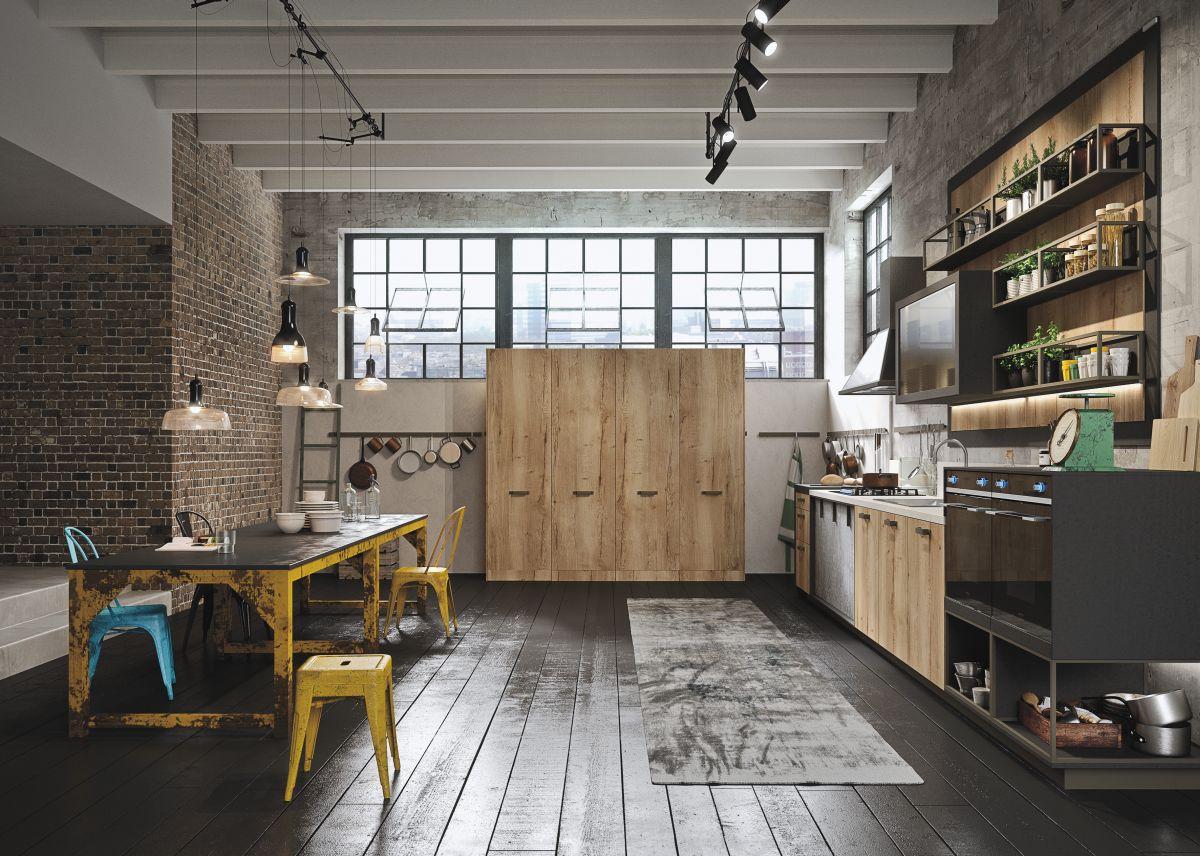 Металлическая мебель и светильники на кухне