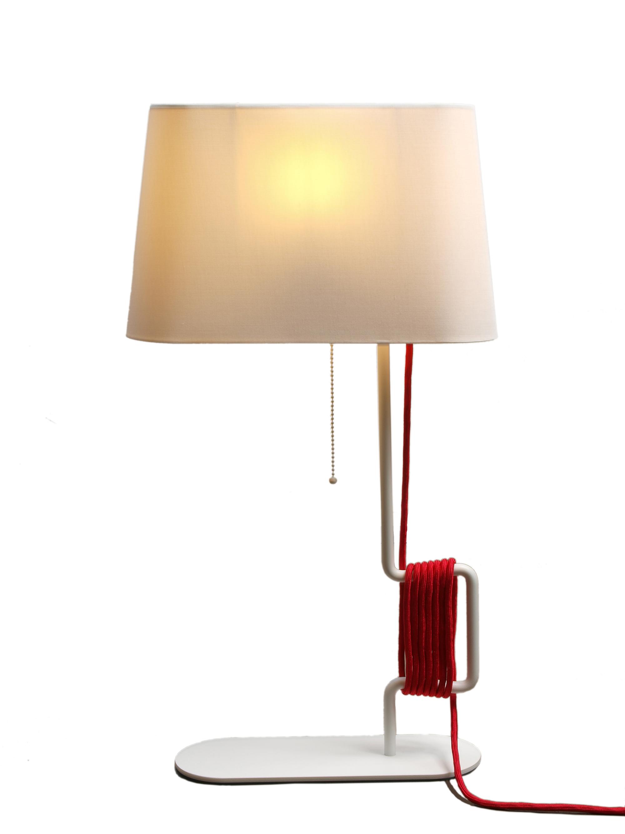 Белый настольный светильник на металлической ножке