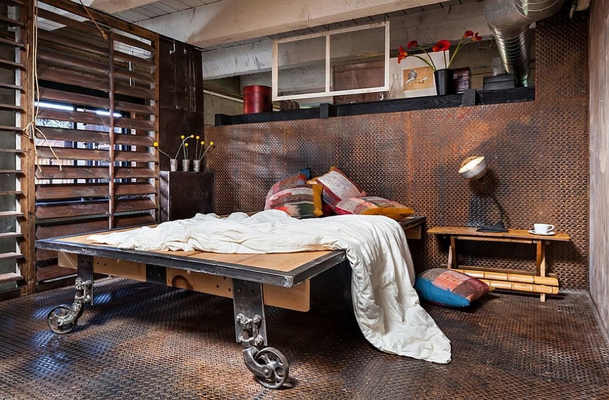 Пол и стены спальни из металла