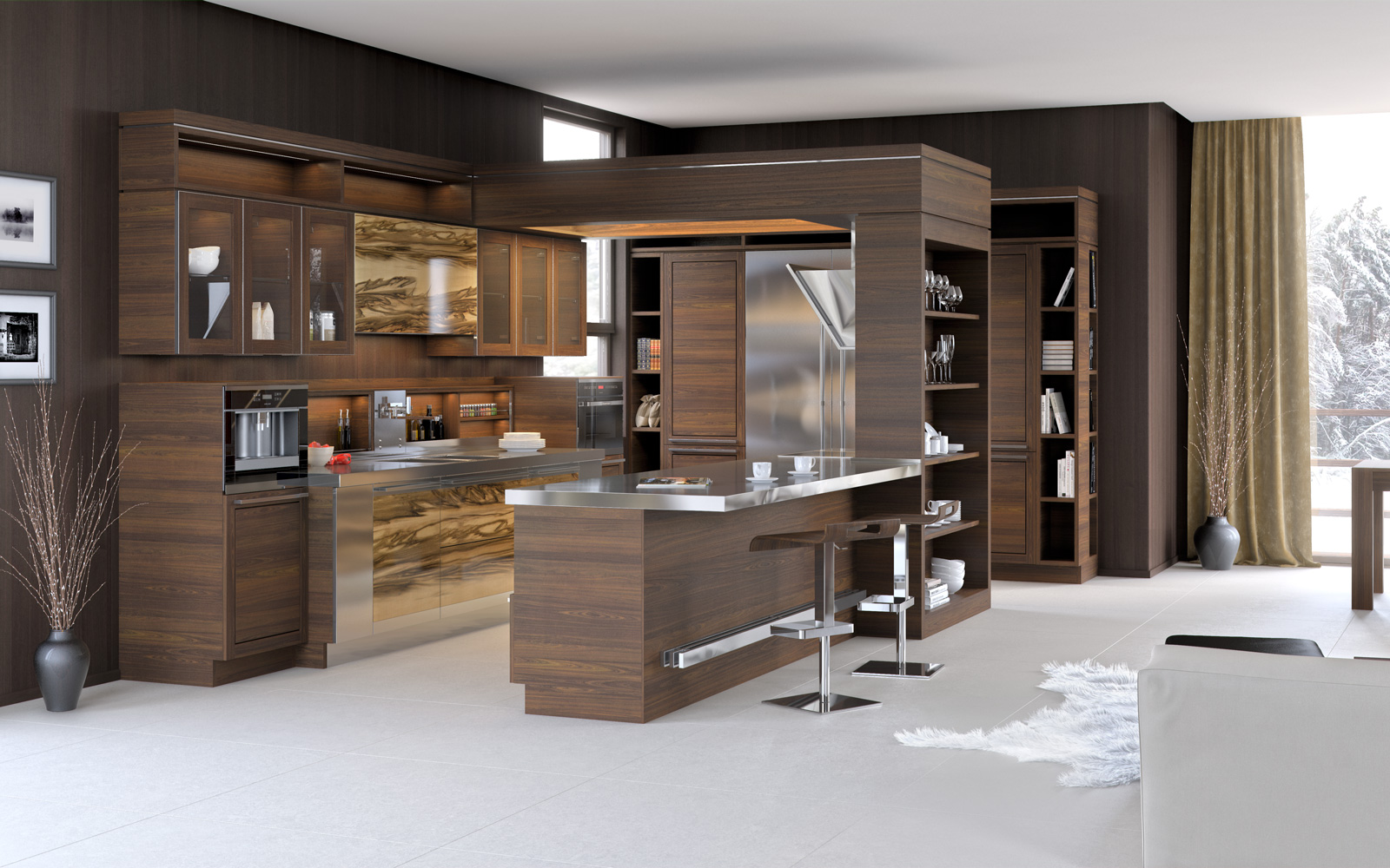 Кухонный гарнитур из дерева и металла