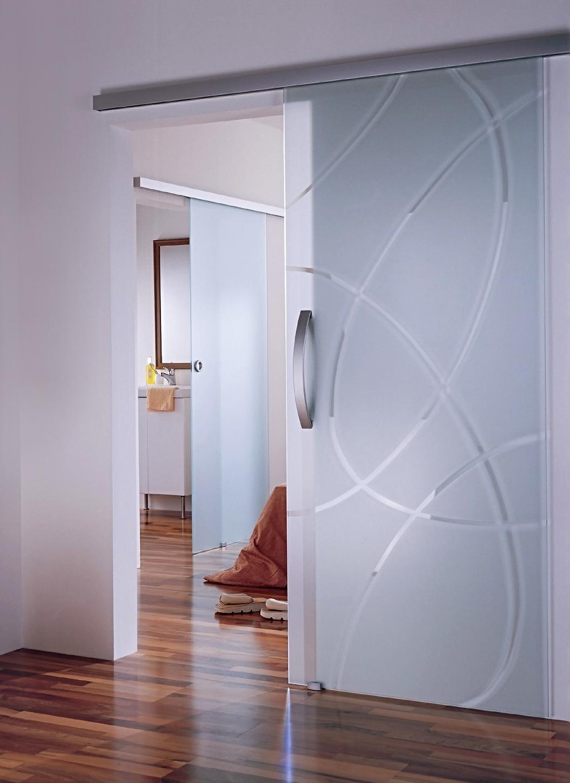 Межкомнатная стеклянная дверь с узором