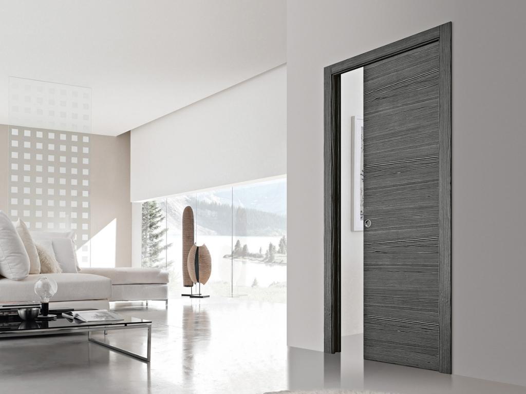 Стильная серая дверь в белом интерьере