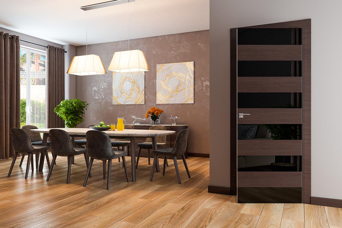 Черно-коричневая межкомнатная дверь в столовую
