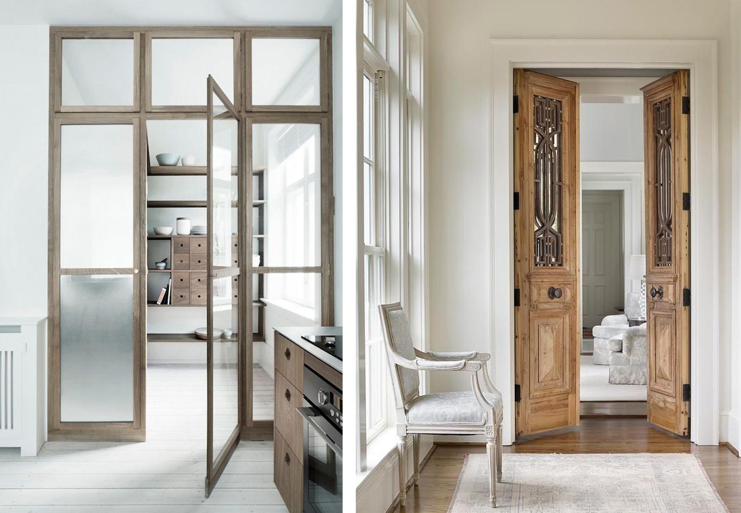 Деревянные распашные двери в интерьере