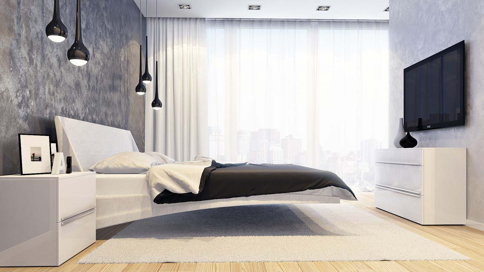 Необычная кровать в минималистичной спальне
