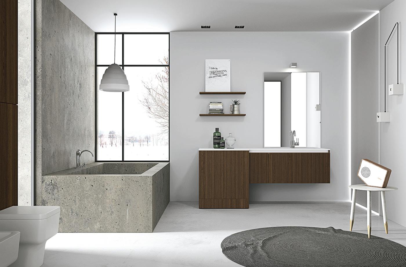 Необычный дизайн ванной в стиле минимализм