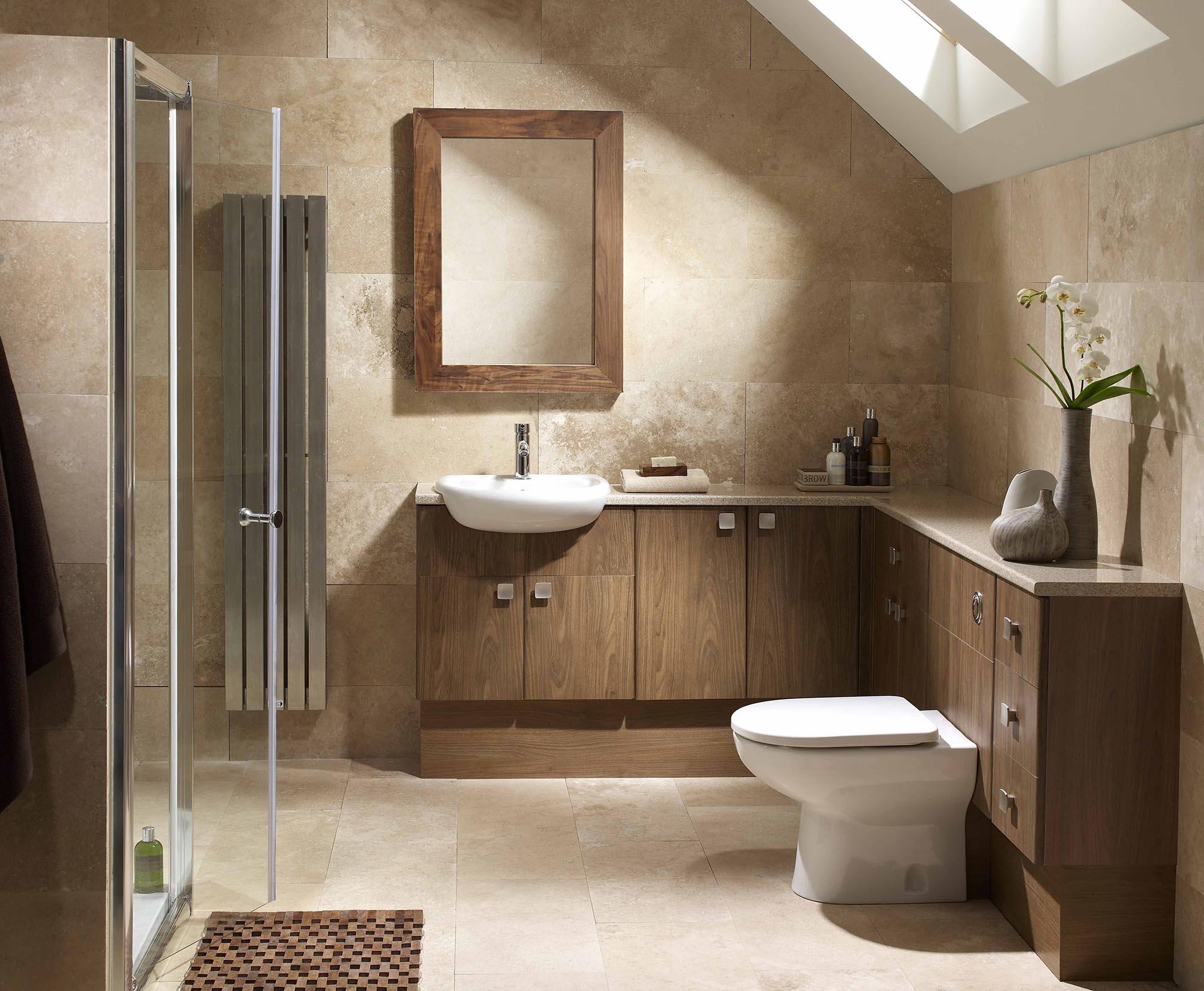 Дерево и плитка в отделке ванной комнаты в стиле минимализм
