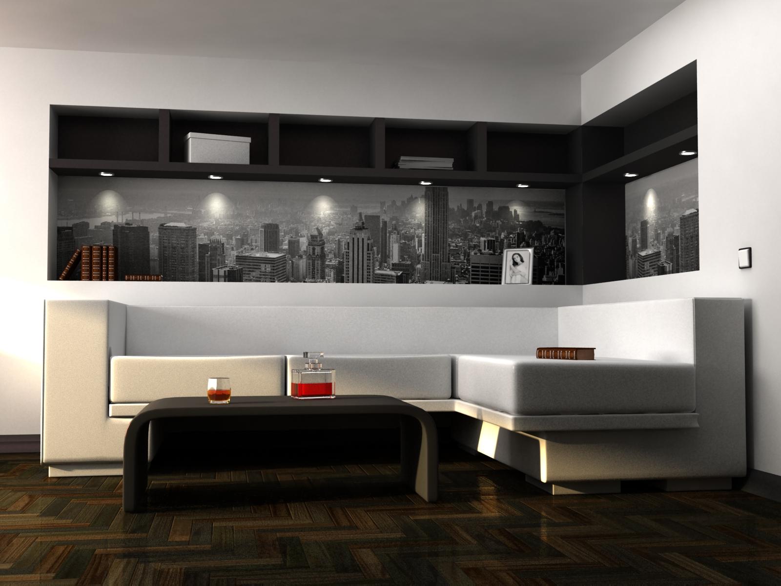 Красивая черно-белая гостиная