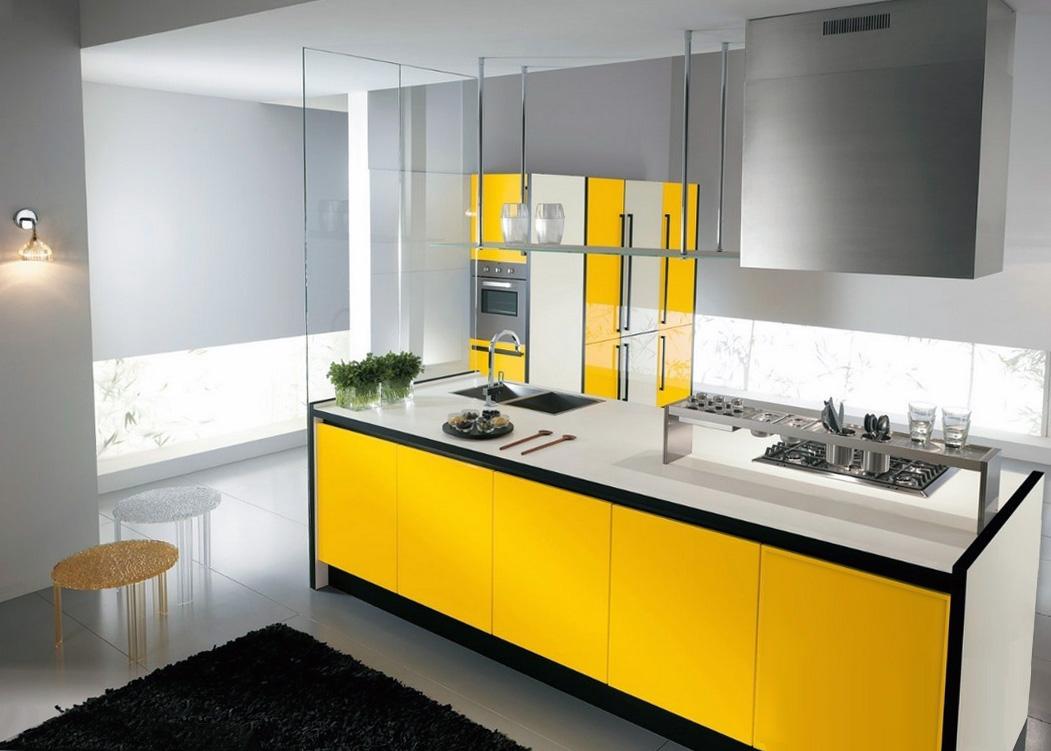 Черный, желтый, белый и серый цвета в интерьере кухни