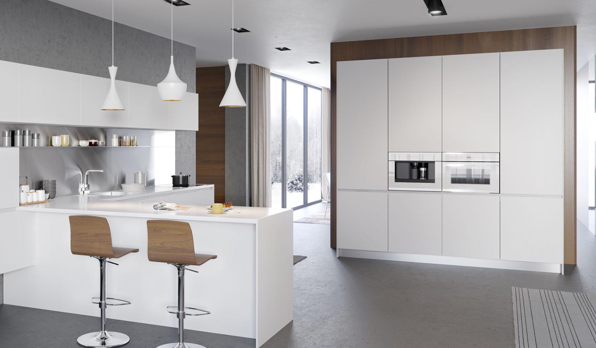 Коричнево-белая кухня в стиле минимализм