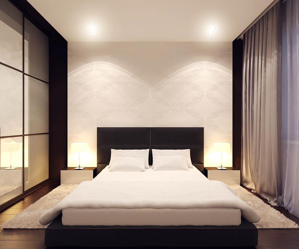Минималистичная уютная черно-белая спальня
