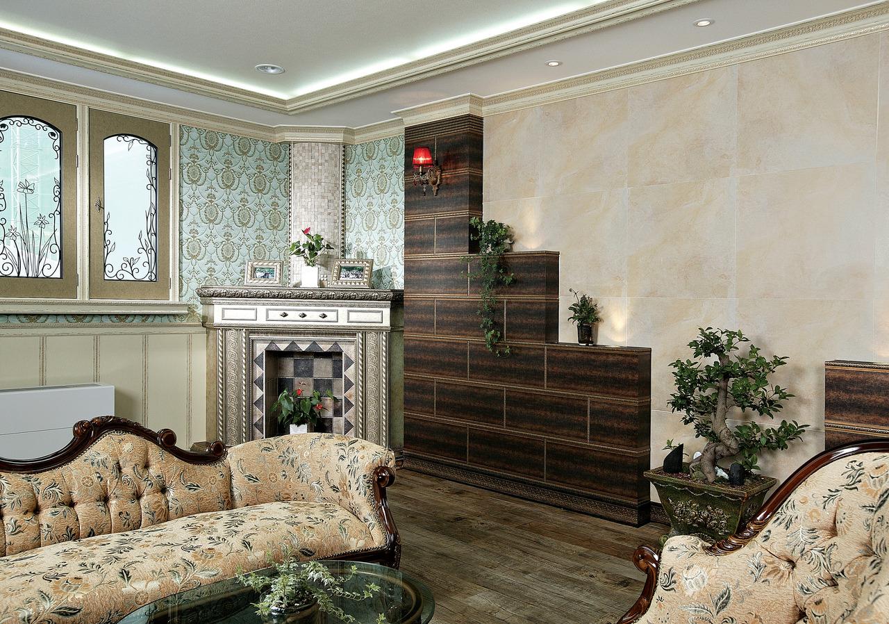 Молдинги в гостиной с декоративным камином