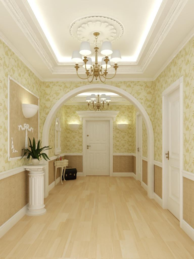 Молдинги на стенах и потолке в интерьере в стиле прованс