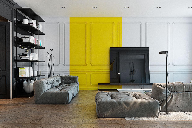 Бело-желтая стена с молдингами в гостиной