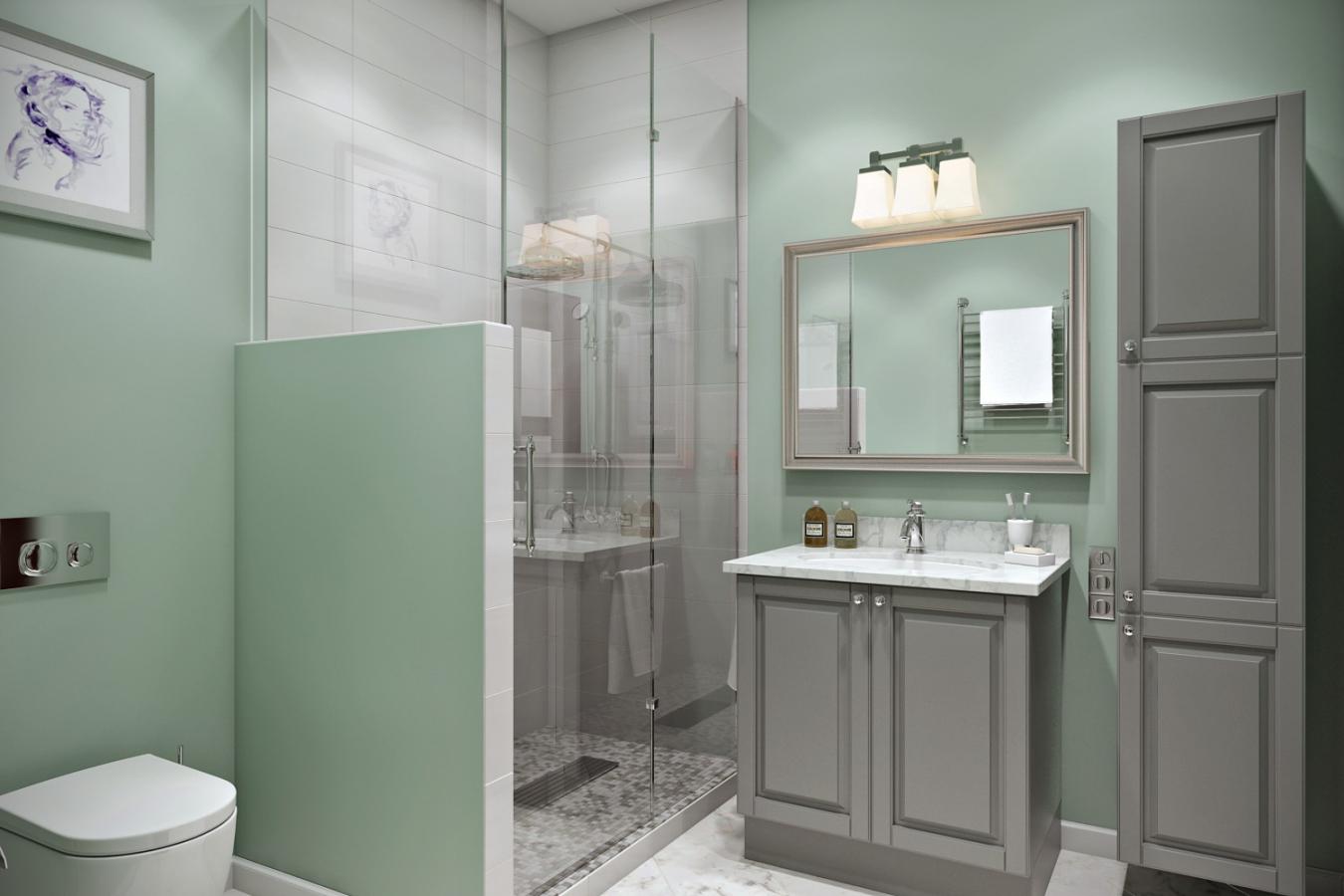Мятный, белый и серый цвета в ванной