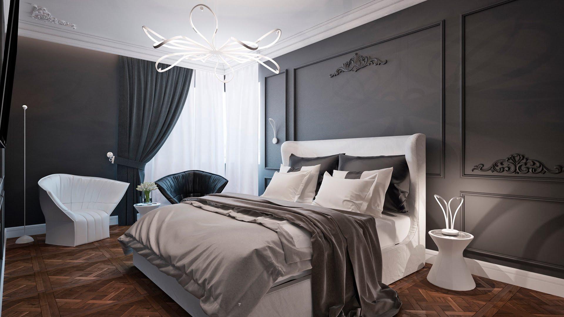 Черно-белая спальня в стиле неоклассика