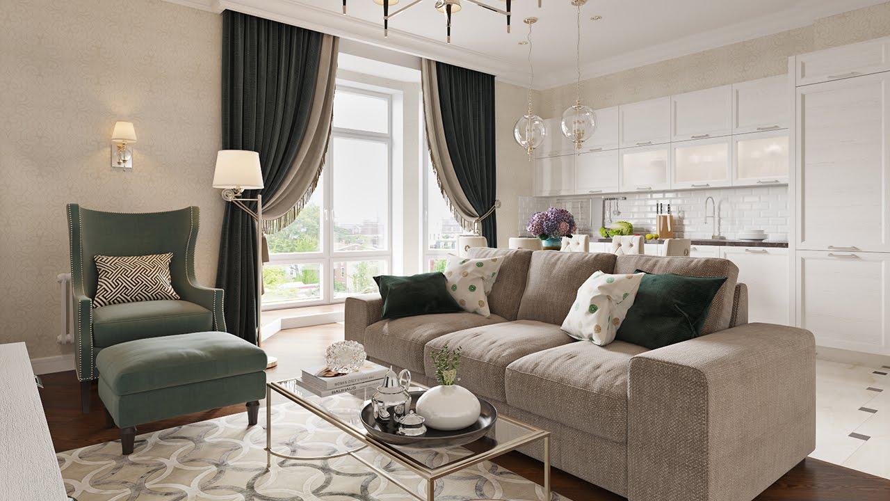 Совмещенная гостиная-кухня в стиле неоклассика в квартире
