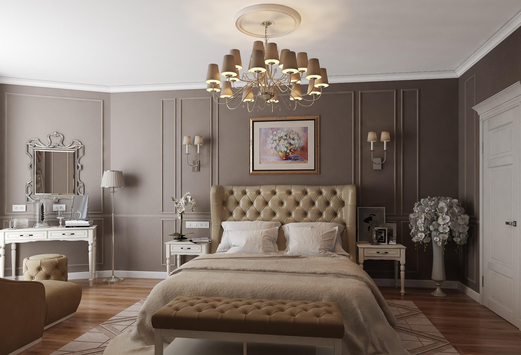 Белый, бежевый и коричневый цвета в спальне в стиле неоклассика