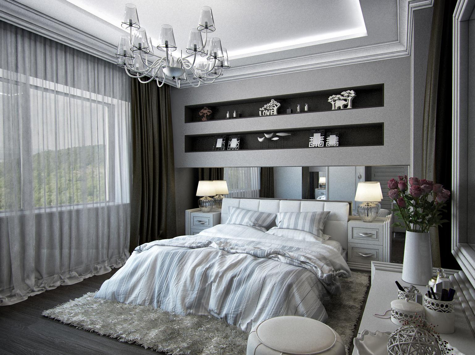 Стильная спальня в стиле неоклассика