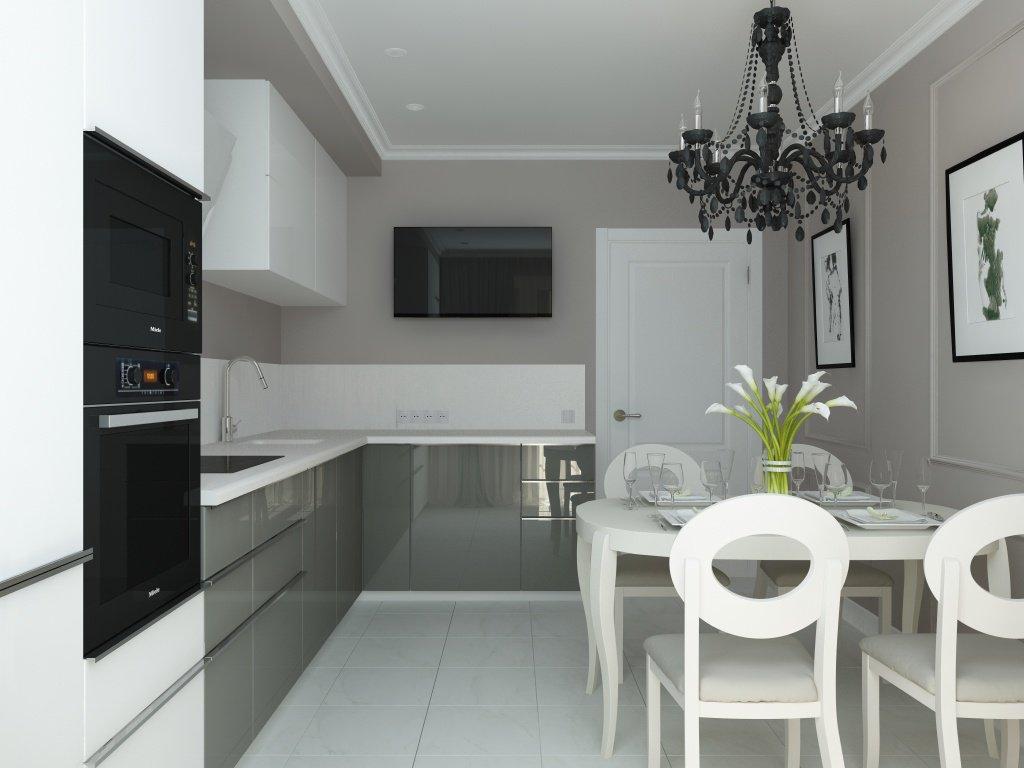 Небольшая кухня в квартире в стиле неоклассика
