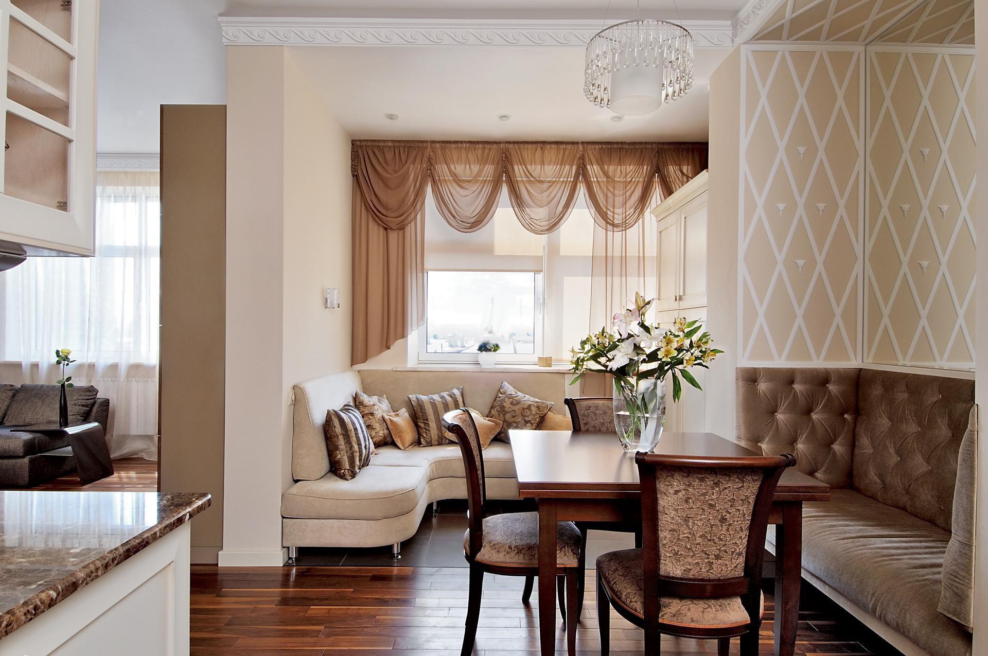 Уютная гостиная-столовая в стиле неоклассика