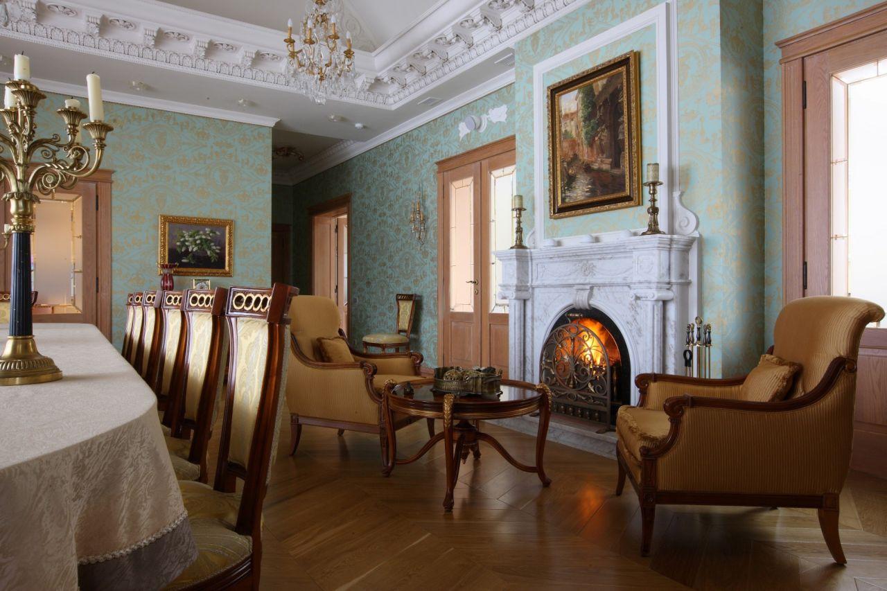 Обои в гостиной в классическом стиле