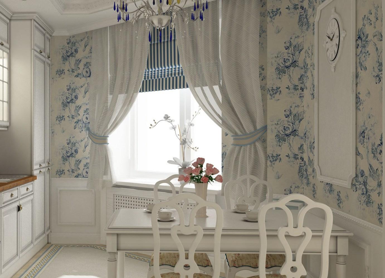 Бело-синие цветочные обои на кухне